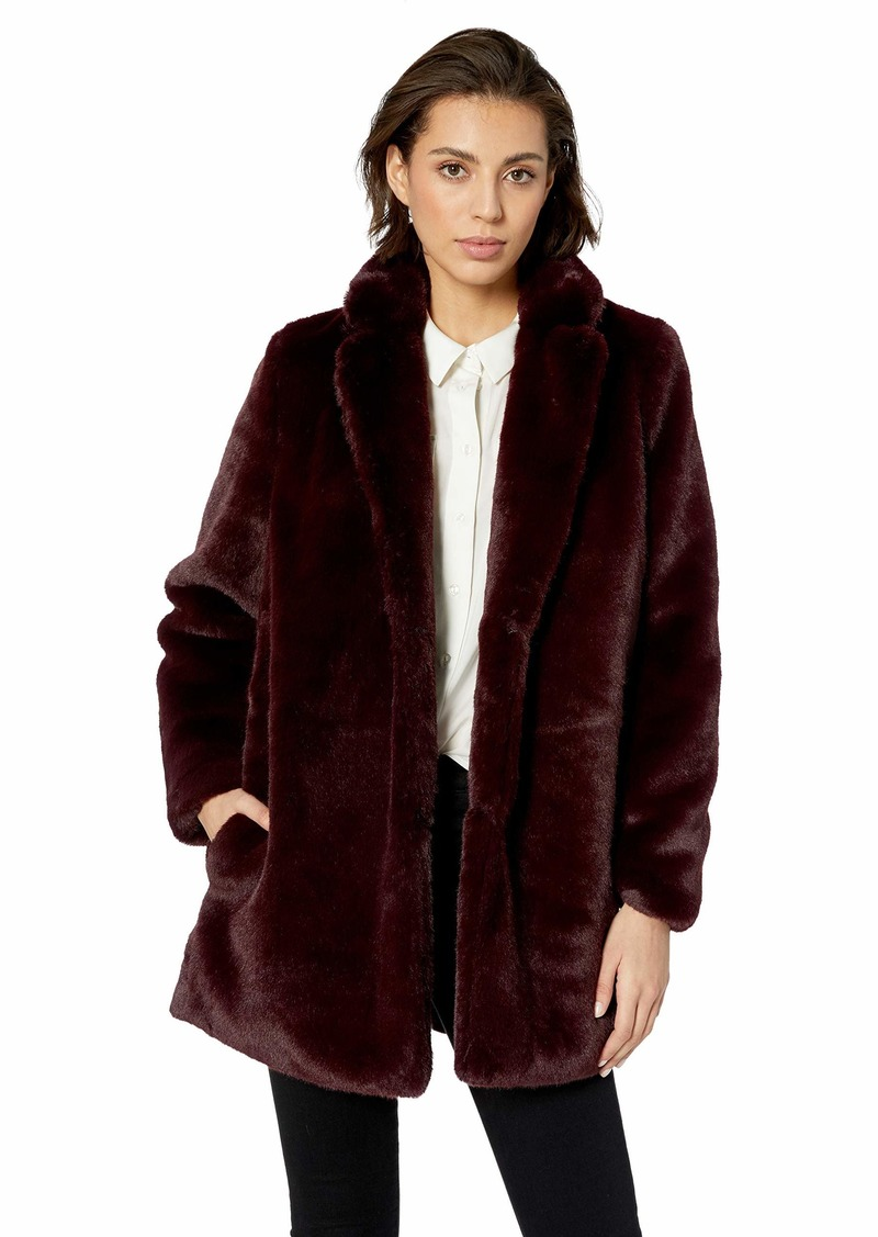 ASTR the label Women's Soft Collared Faux Fur Long Coat  l