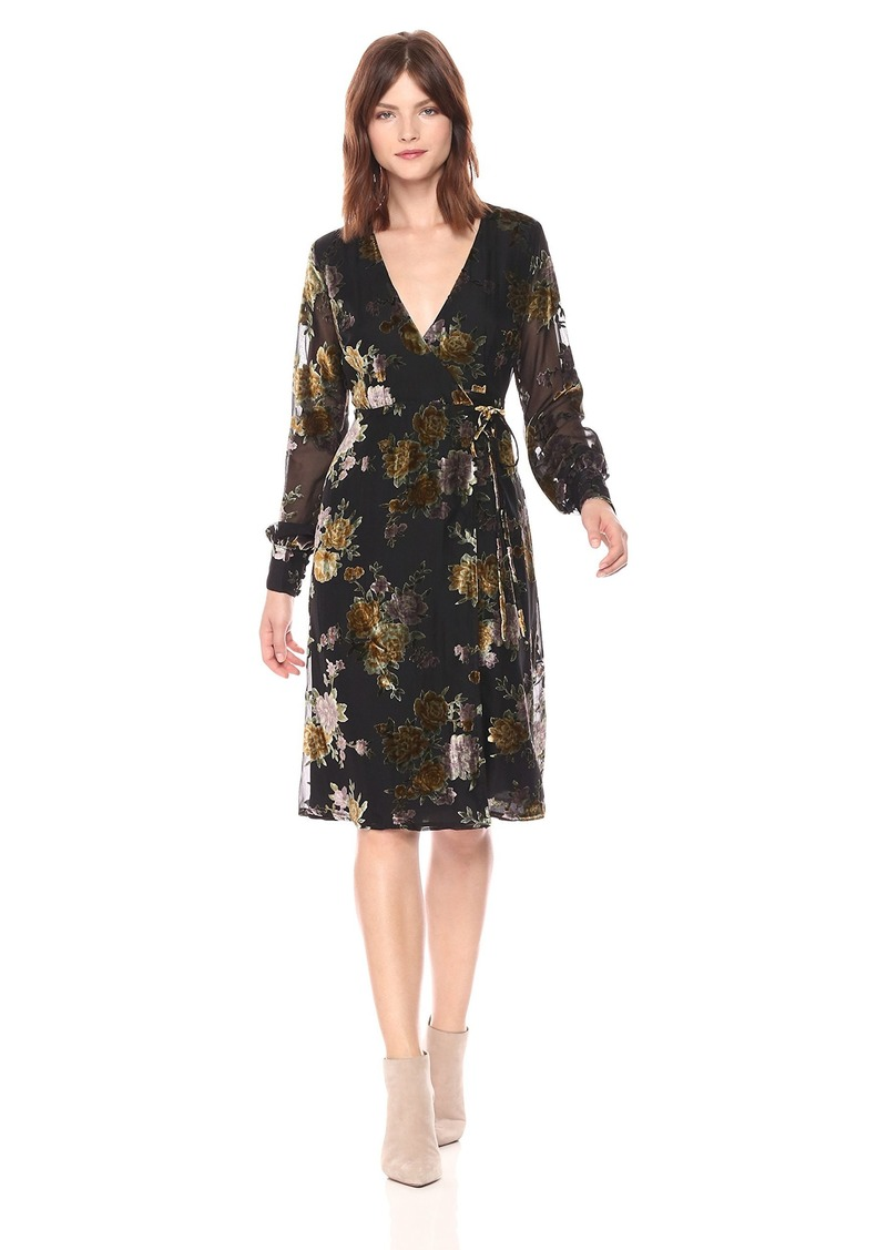 ASTR the label Women's Sonya Floral Print Midi Dress Black Mustard