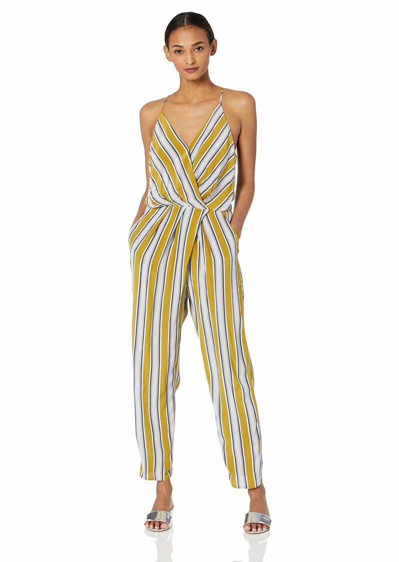 ASTR the label Women's Sterling Sleeveless WRAP TOP Striped Slim Jumpsuit Moss Multi l