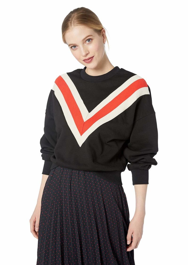 ASTR the label Women's Varsity Chevron Striped Oversized Casual Sweatshirt  M