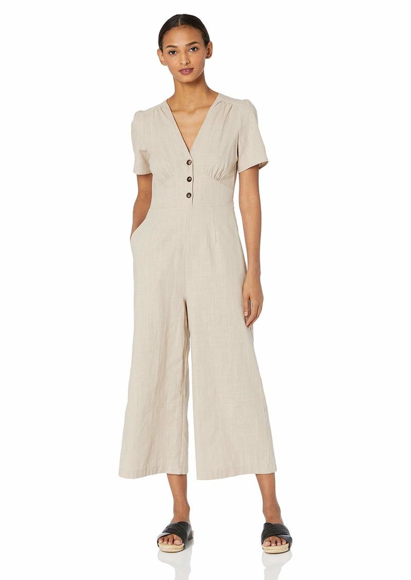 ASTR the label Women's Wesley Short Sleeve Wide Leg Cropped Casual Linen Jumpsuit  l