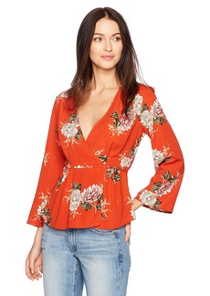 ASTR the label Women's Wrap Front Long Sleeve Floral Print Top  L