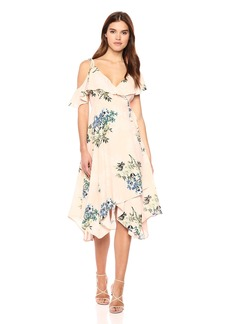 ASTR the label Women's Yessenia Asymmetrical Ruffle Top Floral Wrap DressXS