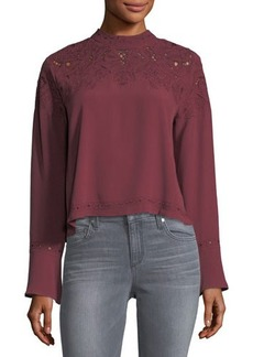 ASTR Winifred Eyelet-Trim Blouse