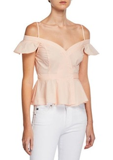ASTR Carly Faux-Wrap Off-the-Shoulder Peplum Top