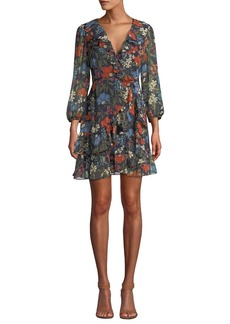 ASTR Cheyanne Floral-Print Ruffle Wrap Short Dress