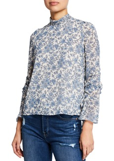 ASTR Cinched-Sleeve Mock-Neck Floral Print Blouse