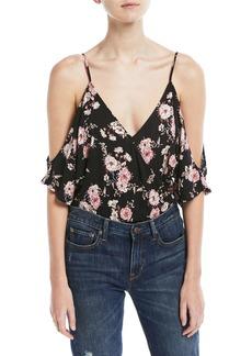 ASTR Cold-Shoulder Floral-Print Bodysuit