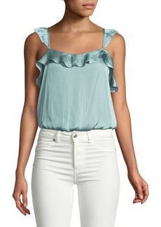 ASTR Cropped Silky Ruffle Blouse