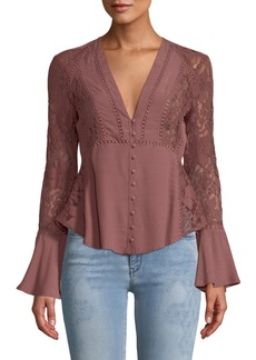 ASTR Hallie Bell-Sleeve Button-Front Lace-Trim Blouse