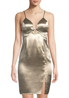 ASTR Hammered Charmeuse Metallic Sheath Dress