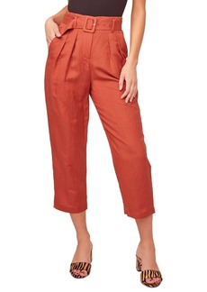 ASTR Larsen Belted Linen Blend Crop Pants