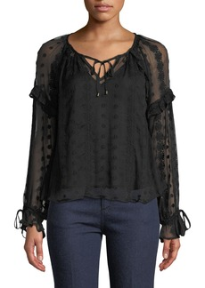 ASTR Leigh Embroidered-Chiffon Peasant Blouse