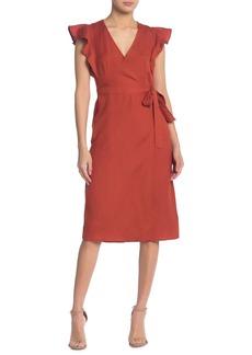 ASTR Linen Blend Wrap Midi Dress