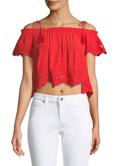 ASTR Nadia Tie-Shoulder Crop Blouse