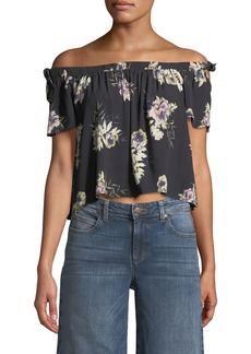 ASTR Off-The-Shoulder Cropped Floral Blouse