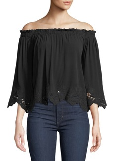 ASTR Off-the-Shoulder Lace-Trim Blouse
