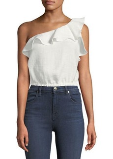 ASTR One-Shoulder Ruffle Crop Blouse