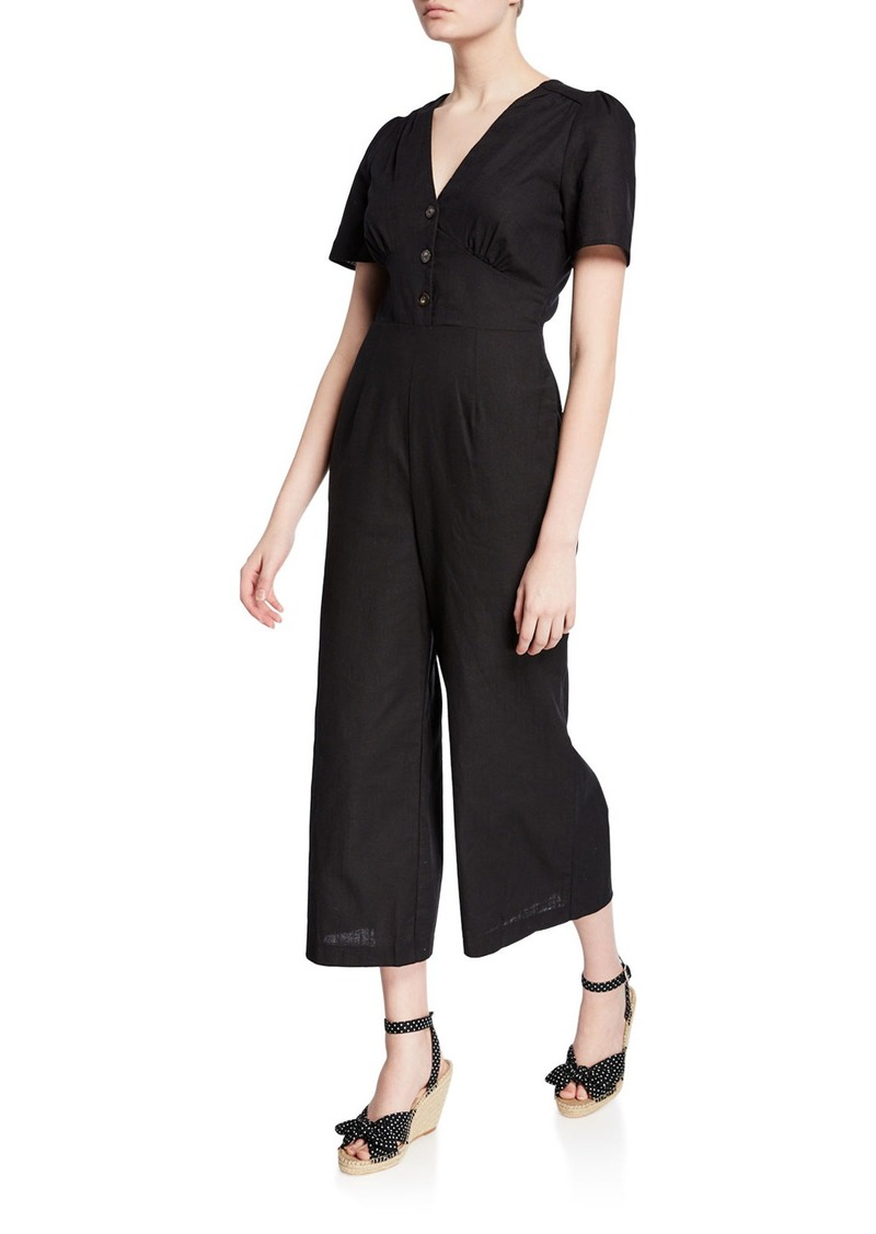 ASTR Short-Sleeve Cropped Casual Linen Jumpsuit
