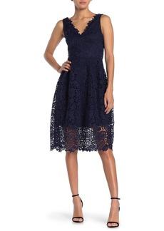 ASTR V-Neck Lace Fit & Flare Dress