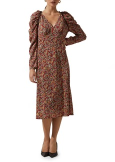 Women's Astr The Label Floral Ruched Long Sleeve Midi Dress