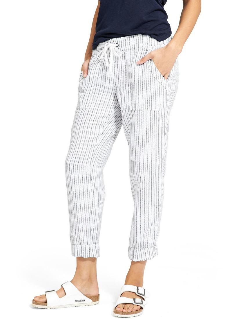 Athleta Herringbone Stripe Linen Ankle Pant Casual Pants