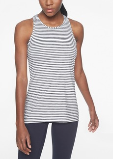 Athleta High Neck Heather Stripe Chi Tank