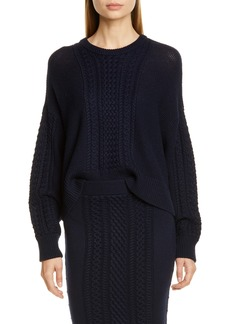 ATM Anthony Thomas Melillo Cable Knit Wool Blend Sweater
