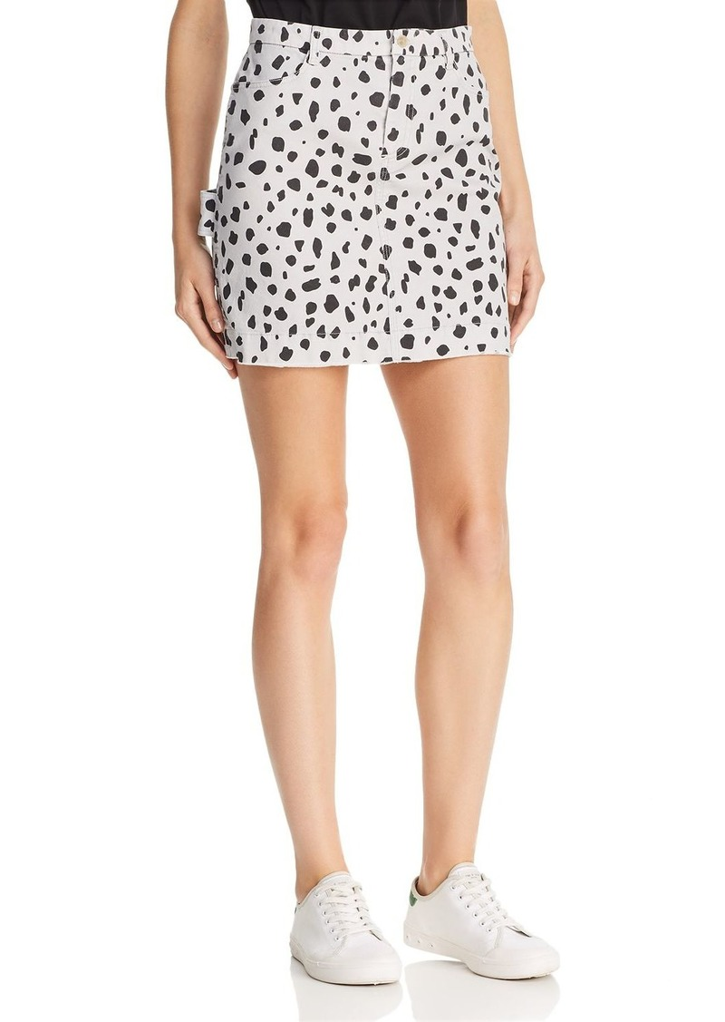 ATM Anthony Thomas Melillo Cheetah-Print Mini Skirt in Pale Silver Combo