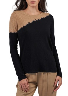 ATM Anthony Thomas Melillo Destroyed Colorblock Long Sleeve Crewneck Top
