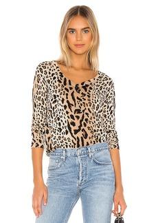 ATM Anthony Thomas Melillo Mixed Leopard Print V Neck Sweater