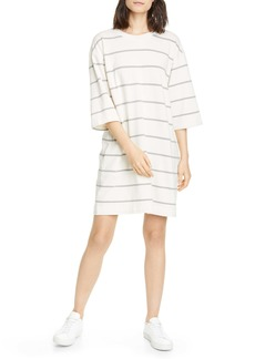 ATM Anthony Thomas Melillo Plaited Stripe Jersey Sweatshirt Dress
