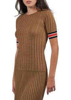 ATM Anthony Thomas Melillo Rib Short Sleeve Silk Blend Sweater