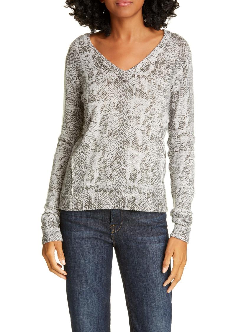 ATM Anthony Thomas Melillo Snakeskin Print Cotton & Cashmere Sweater