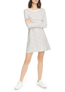 ATM Anthony Thomas Melillo Stripe Shimmer Long Sleeve T-Shirt Dress