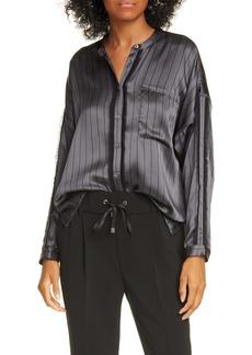 ATM Anthony Thomas Melillo Stripe Silk Satin Shirt