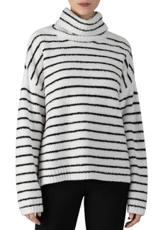 ATM Anthony Thomas Melillo Striped Funnel Neck Chenille Sweater