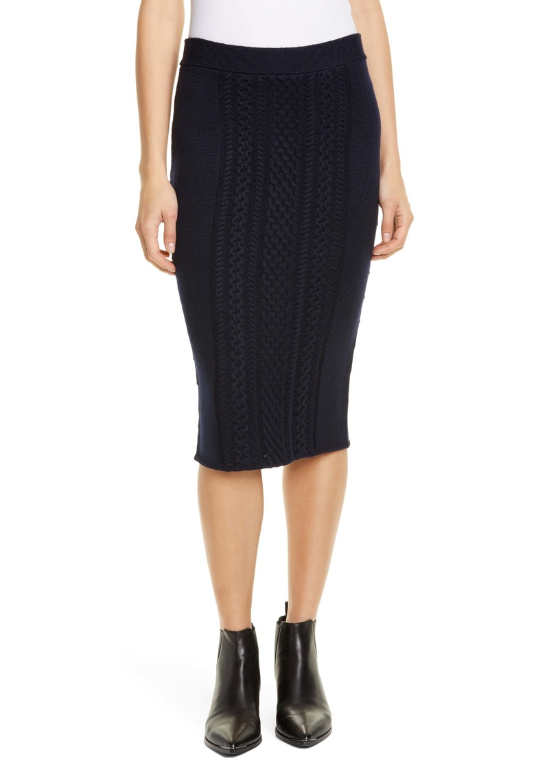 ATM Anthony Thomas Melillo Wool Blend Cable Knit Skirt