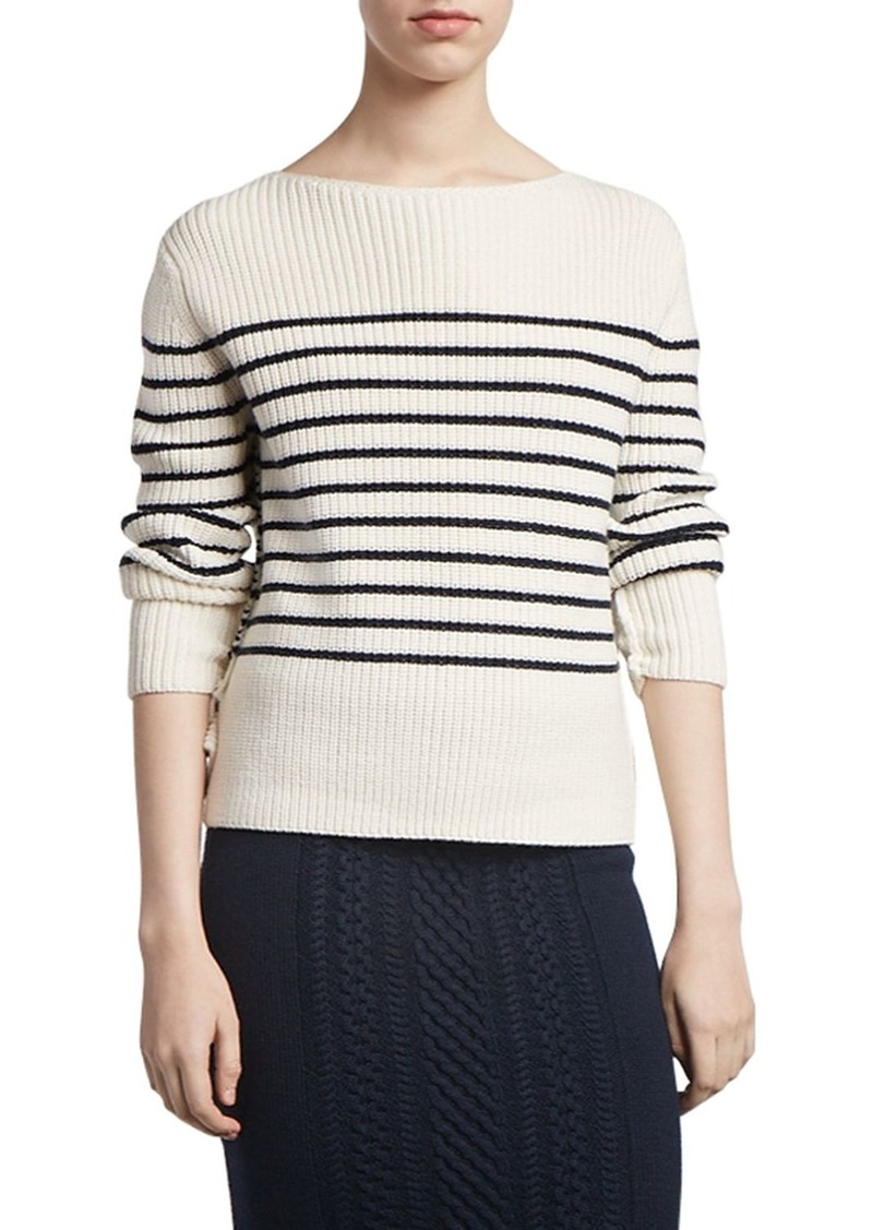 ATM Anthony Thomas Melillo Wool-Blend Striped Boat-Neck Sweater