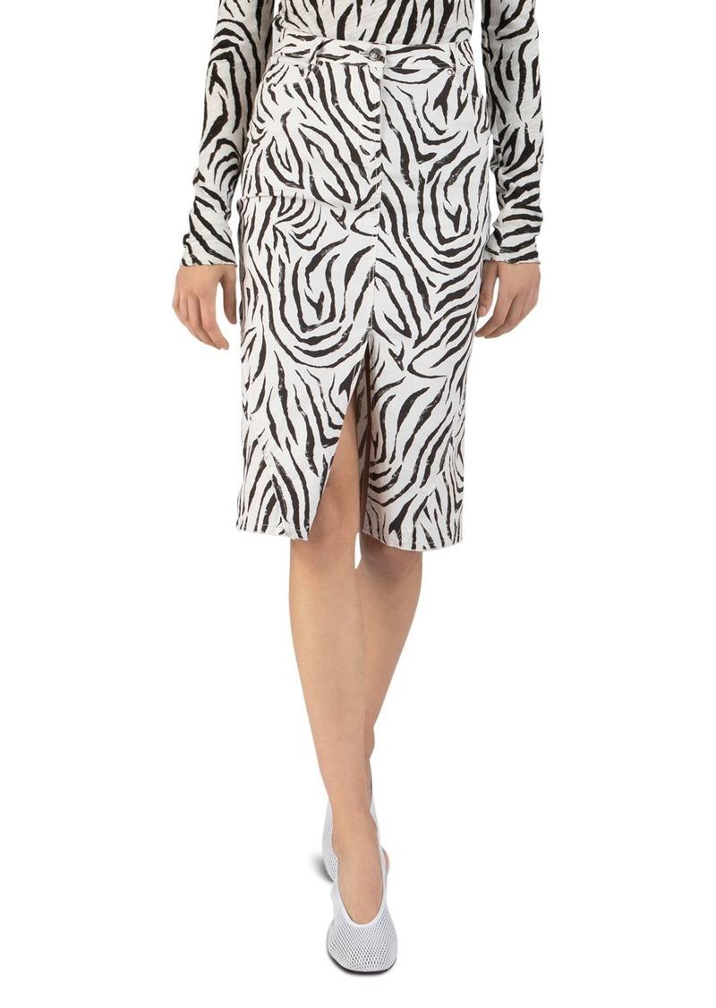 ATM Anthony Thomas Melillo Zebra-Printed Denim Skirt