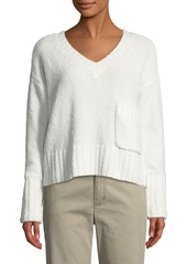 ATM Anthony Thomas Melillo Chenille Pocket V-Neck Pullover Sweater