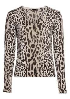 ATM Anthony Thomas Melillo Cotton-Blend Mixed-Leopard Sweater