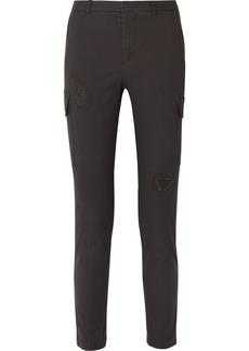 ATM Anthony Thomas Melillo Cropped Distressed Stretch-cotton Slim-leg Pants