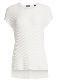 ATM Anthony Thomas Melillo Diagonal Knit Short-Sleeve Pullover