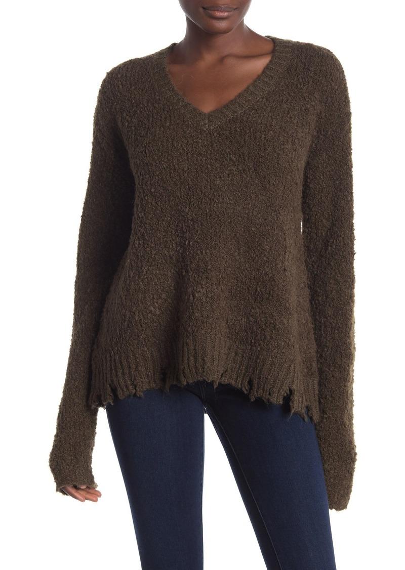 ATM Anthony Thomas Melillo Fuzzy Destroyed V-Neck Sweater