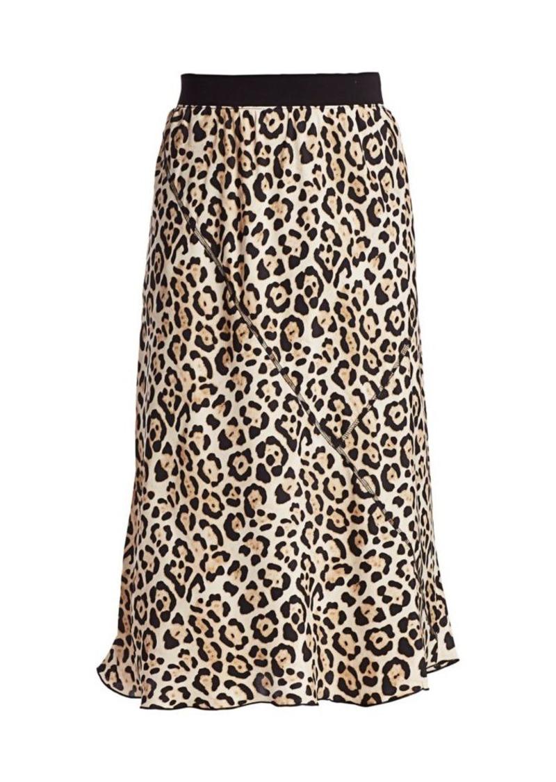 ATM Anthony Thomas Melillo Leopard Print Silk Midi Skirt