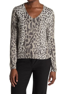 ATM Anthony Thomas Melillo Leopard Print V-Neck Sweater