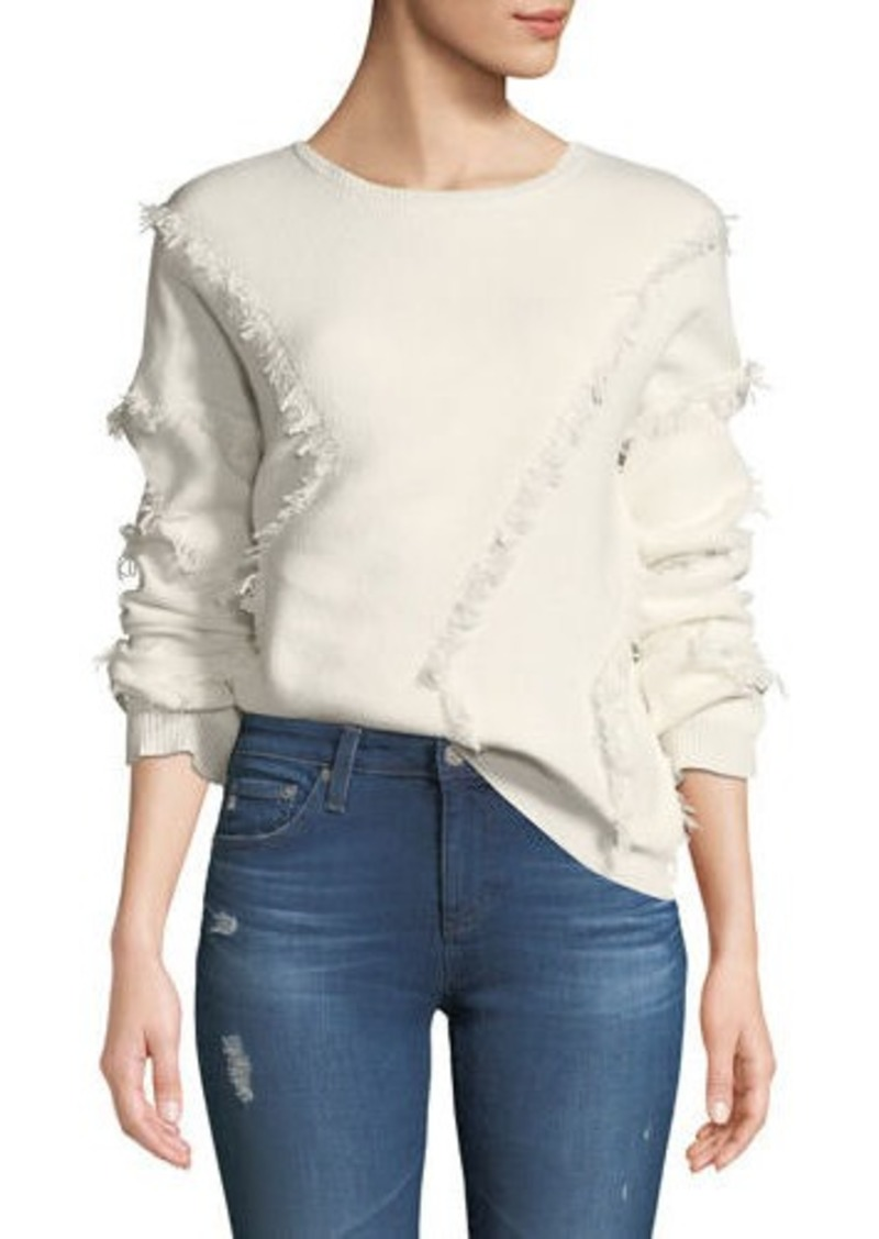 ATM Anthony Thomas Melillo Merino Wool Fringe Pullover Sweater
