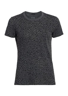 ATM Anthony Thomas Melillo Slub Jersey Mini Animal Print Schoolboy Crew Tee