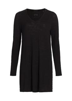 ATM Anthony Thomas Melillo Slub Jersey V-Neck Long-Sleeve Dress